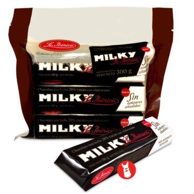 La Iberica 6 Barras Chocolate Milky sin Azucar 38% Cocoa