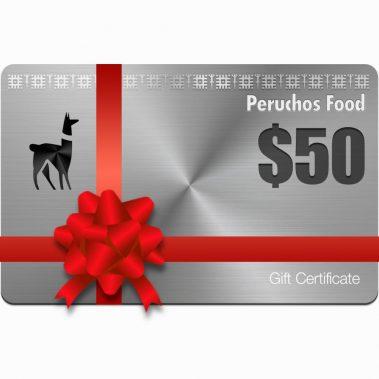 peruchos food $50 gift certificate